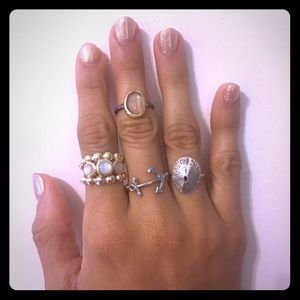 Jewelry - 4 Sterling Rings Sea Shell  Mermaid Inspo
